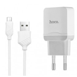 СЗУ 1USB Hoco C22A White + USB Cable iPhone 8 (2.4A)